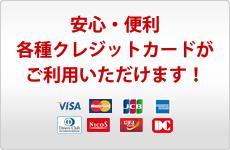 各種クレジットカードがご利用いただけます!